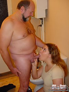 Fatty Red Head Lady Sucked Cock in the Toilet Before Fucked Hard