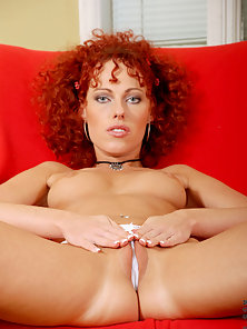 Red Head Curly Hair Chick Showing Her Pussy in Doggy Style