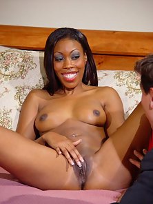 Horny Black Babe in Red Swimsuit Exposes Her Pink Fanny and Gets Licked