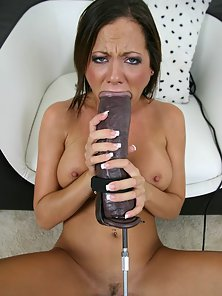 Nasty Brunette Babe Sophia Sucked a Large Dildo for Pleasure
