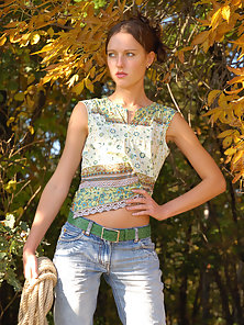 Skinny Chick Outdoors Posing Nakedly for Photoshoot