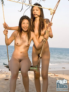 Naked Hot Chicks Playing with Each Other Sexual Parts at Sea Beach