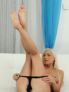 Mature Blonde Vanessa Making Solo Fun after Stripping Panty