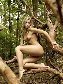 Dazzling Blonde Jenny Flashes Her Nice Bare Figure in Different Positions
