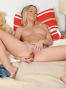Lovely Blonde Babe Tiffany Striping her Panties and Fucking her Pussy by Dildo