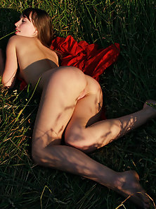 Got Girl Lying in Grass Nakedly in Various Poses for Photoshoot