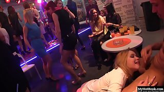 Slutty blonde lady deepthroating and riding black schlong at party