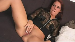 Fishnet Shirt Girl Rubbing Pussy and Making Herself Happy