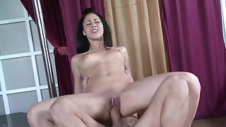 Jamming her pussy on a huge dick is her favorite thing