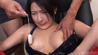 Asian Lady Teased by Hunky Dudes Using Toys with Wet Action