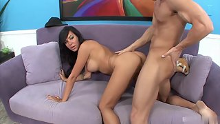 Round Boob Alyssa Reece on Couch Getting Different Positions Hammered