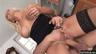 Busty Blonde Silvia Monti in Sexy Black Lingerie Got Anal Bored in Doggy Style