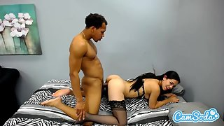 Natural Boobs Brunette Babe In Stockings Gets Doggy Style Pussy Banged by Dude