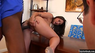 Hottest Brunette Olivia Wilder Shaved Twat Nailed by Black Cock in Interracial Sex