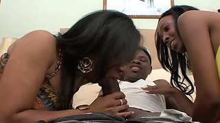 Two ebony babes get drilled by a stiff black knob