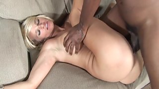 Round Boobs Blonde Deeply Penetrated by Massive Black Dick