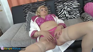 Stockings Wearing Grannies Enjoys Finger Poking Compilation