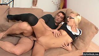 Glasses Wearing Blonde Babe Emma Mae Gets Rammed after Licked