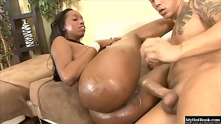 Busty Ebony Babe Gets Nice Body Massage and Shaved Twat Nailed by Dude