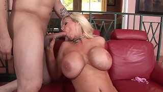 Round Boobs Blonde Deeply Penetrated by Handsome Man Indoors