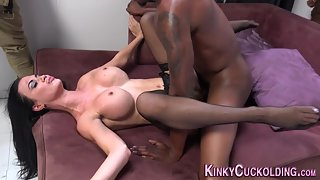 Busty Lady in Stocking Penetrated Hard by Black Dude with Cumshot Action