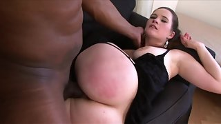 Stockings brunette riding and fucking a hard black dick