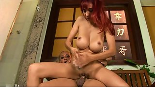 Hot blonde shemale rams a redhead hot babe