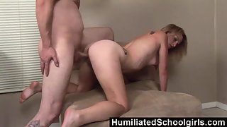Pretty Blonde Angel Gets Riding Way Nailed by Thick Schlong