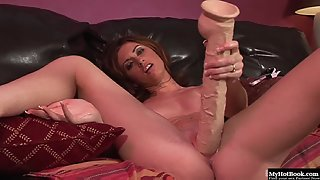 Hot Brunette Chick Crazily Fucked Herself by Using Massive Black Dildo