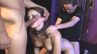 Hot fishnet babe takes two dicks in her holes