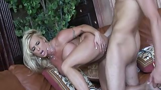 Hot busty blonde girl hammered by a hard stick