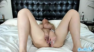 Blonde Rubbing and Fucking Herself Using Toys in Front of Webcam