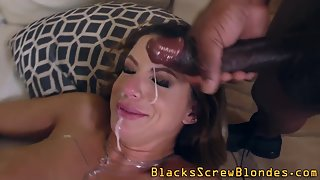 Busty Lady Fucked by Many Muscular Dudes and Got Facialized at End