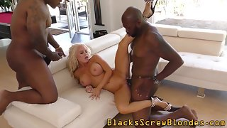 Busty Blonde with Black Dudes Engaged in Threesome Interracial Sex
