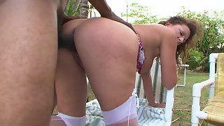 Mature Lady Sucking Cock and Merged in Sex Outdoors