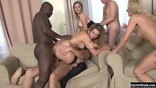 After Dildo Ride Stunning Babes Enjoys Interracial Plowed Indoors