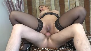 Stocking Wearing Blonde Enjoying Hardcore Sex with Dude