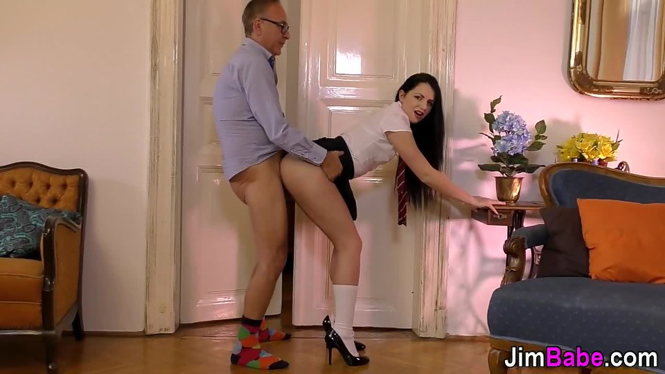 Beautiful Brunette Fucked Hard by Uncle after Seducing Him