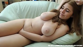 Busty Lady Spreading Legs and Masturbating Herself on Couch