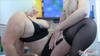 Chubby Grannies Getting Fucked by Hunky Dude Inside Room