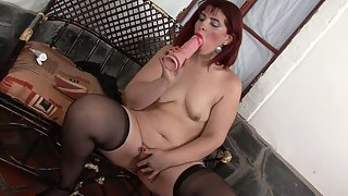 Mature Lady Playing Nakedly with Massive Dildo Indoors