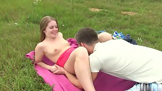 Petite Chick with Boyfriend Outdoors Teasing and Penetration