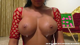 Busty Babe Spiting on Her Tits during Solo Masturbation