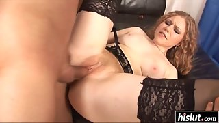 Hot stockings babe stretched her pussy with toys and took a hard cock
