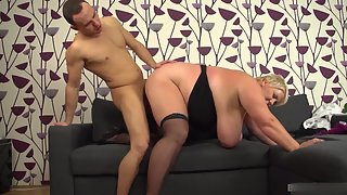 Chubby Blonde Playing Nakedly with Her Grandson