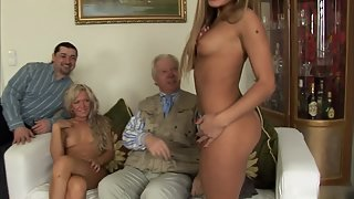 Two Hot Chicks Making Old Partners Happy by Sexual Activity