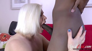 Blonde BBW Deep Sucked and Fucked POV by Muscular Interracial Guy