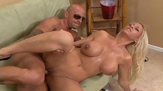 Busty Blonde Getting Fucked by Bald Man after Sucking Cock
