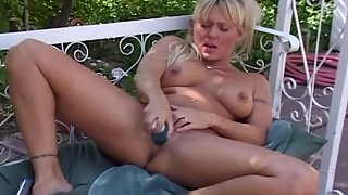 Busty Blonde Rubbing Pussy and Making Herself Happy Using Dildo