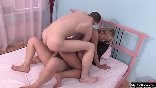 Naughty Blonde Babe Gets Double Penetrated by Two Handsome Dude